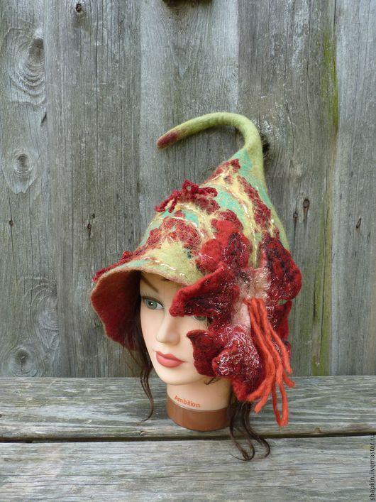 Банные принадлежности ручной работы. Ярмарка Мастеров - ручная работа. Купить Банная шапка женская Китайская роза. Handmade. Зеленый