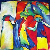 """Аксессуары ручной работы. Ярмарка Мастеров - ручная работа Платок шелк """" С любовью к Кандинскому"""". Handmade."""