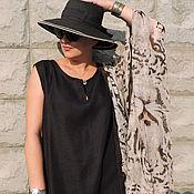 Платья ручной работы. Ярмарка Мастеров - ручная работа Платье из льна Бохо чёрное № 10 на каждый день. Handmade.