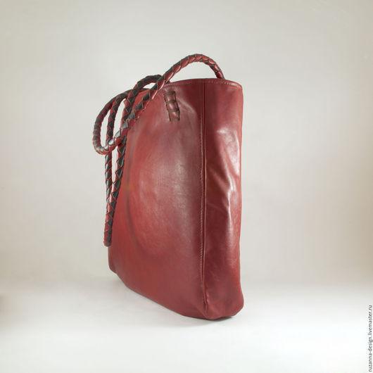 Женские сумки ручной работы. Ярмарка Мастеров - ручная работа. Купить Большая объемная сумка из натуральной кожи рыже-коричневого цвета. Handmade.