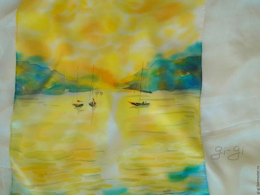 Шарфы и шарфики ручной работы. Ярмарка Мастеров - ручная работа. Купить Свет моря. Handmade. Желтый, море, теплое море