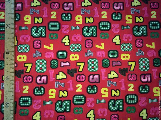 Ткань курточная 240Т PONGEE WR PU MILKY. Рисунок `Красные цифры`