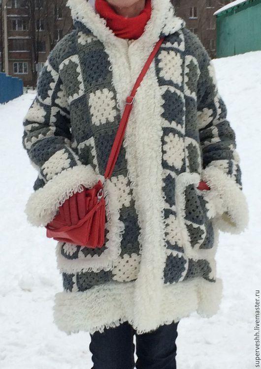 Верхняя одежда ручной работы. Ярмарка Мастеров - ручная работа. Купить Пальто. Handmade. Морская волна, рисунок, шерсть 100%