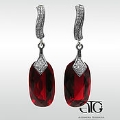 Украшения handmade. Livemaster - original item Earrings with red spinel and CZ. 925 sterling silver. Handmade.