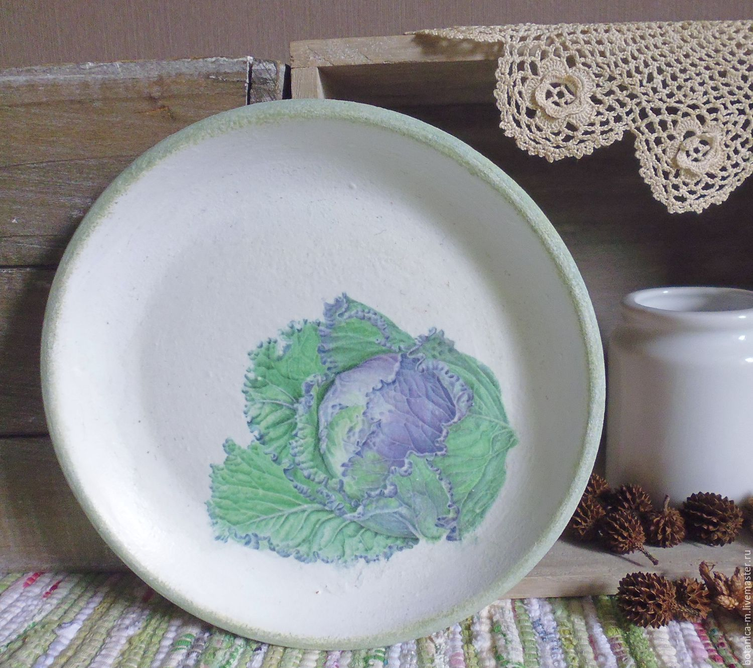'cabbage' plate decorative country style, Plates, St. Petersburg,  Фото №1