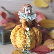 Куклы и игрушки handmade. Livemaster - original item Pumpkin needle doll (made of antique parts). Handmade.