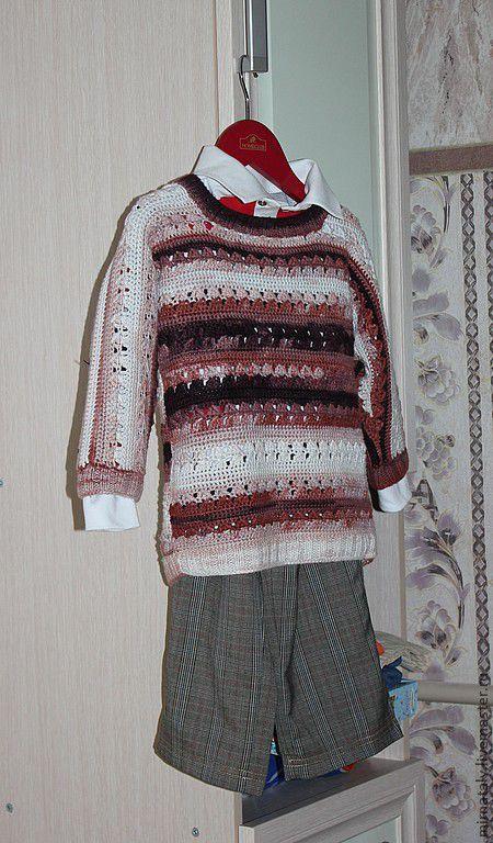 Одежда для мальчиков, ручной работы. Ярмарка Мастеров - ручная работа. Купить Джемпер праздничный. Handmade. Коричневый, бамбуковое волокно