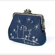 Сумки и аксессуары handmade. Livemaster - original item cosmetic bag made of denim with clasp a date under the moon. Handmade.