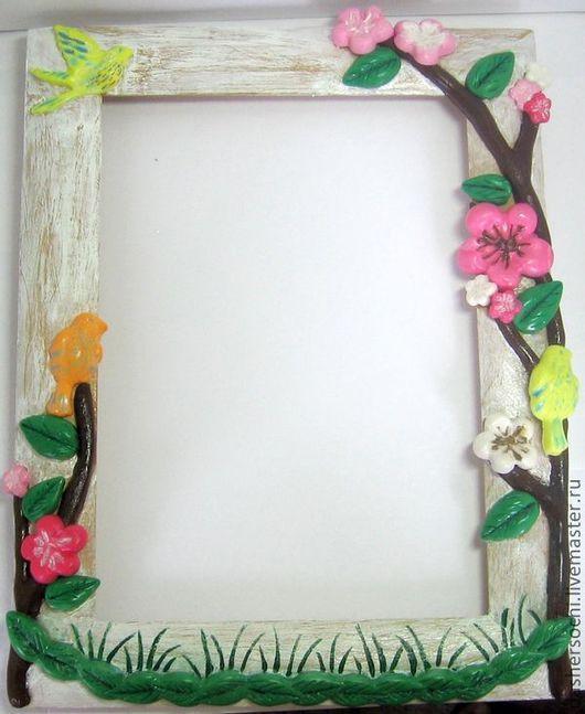 """Фоторамки ручной работы. Ярмарка Мастеров - ручная работа. Купить Рамка для фото """"Райский сад"""". Handmade. Розовый, желтый, рамка"""