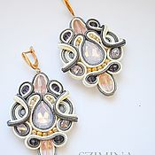 Украшения handmade. Livemaster - original item Soutache earrings Beige. Handmade.