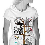Одежда handmade. Livemaster - original item Cat tree t shirt. Handmade.
