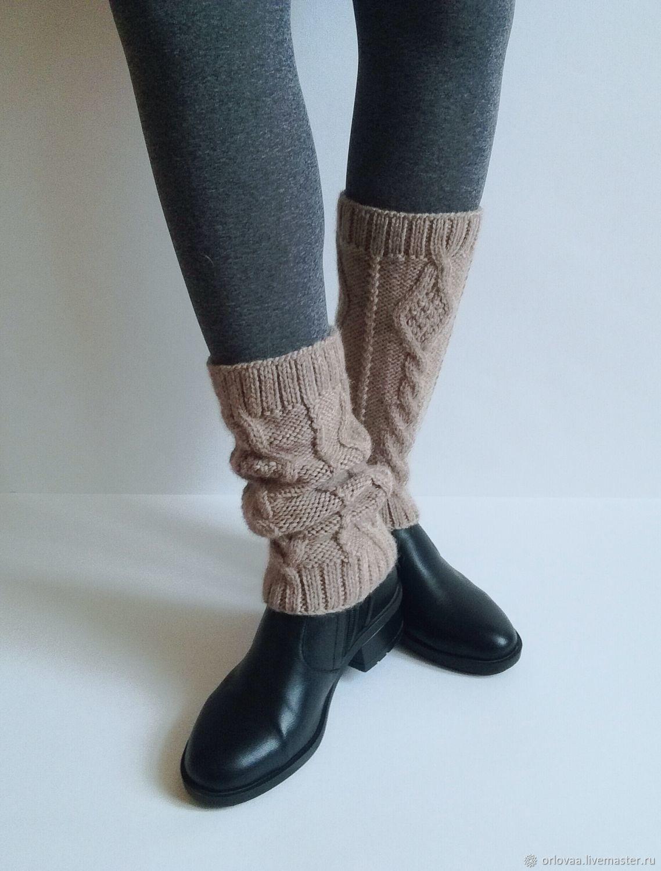 Knitted leg warmers wool Alpaca 'beige', Leg warmers, Moscow,  Фото №1