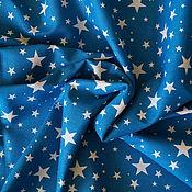 Материалы для творчества ручной работы. Ярмарка Мастеров - ручная работа Хлопок темно-голубые звезды. Handmade.