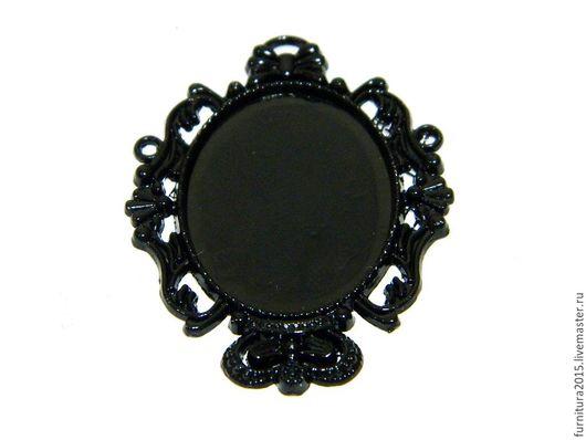 Для украшений ручной работы. Ярмарка Мастеров - ручная работа. Купить СЕТТИНГ  для подвески овал, бронза, черная эмаль.. Handmade.