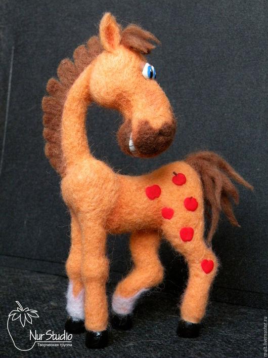 Игрушки животные, ручной работы. Ярмарка Мастеров - ручная работа. Купить Конь в яблоках. Handmade. Оранжевый, Паперклей