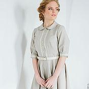 Одежда ручной работы. Ярмарка Мастеров - ручная работа Серое платье с кружевом, воротником и юбкой-солнце. Handmade.