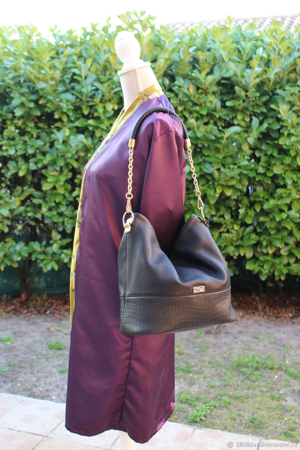 a611423fcd31b Black leather hobo bag with braided handle – shop online on Livemaster with  shipping - I45HHCOM | Bordeaux