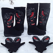 """Обувь ручной работы. Ярмарка Мастеров - ручная работа Валенки """"Снегири прилетели""""-повтор№3. Handmade."""