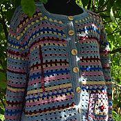 Одежда handmade. Livemaster - original item Cardigan knitted Ryabina.Bomber. Blue, Burgundy. Handmade.