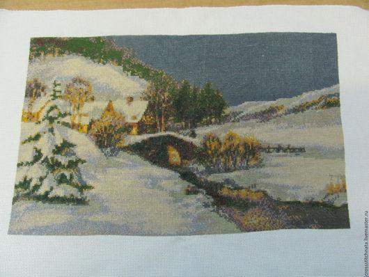 """Пейзаж ручной работы. Ярмарка Мастеров - ручная работа. Купить Вышивка """"Зимний вечер"""". Handmade. Комбинированный, вышивка крестиком"""