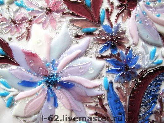 Картины цветов ручной работы. Ярмарка Мастеров - ручная работа. Купить панно из стекла, фьюзинг  Хрустальный букет. Handmade. синий