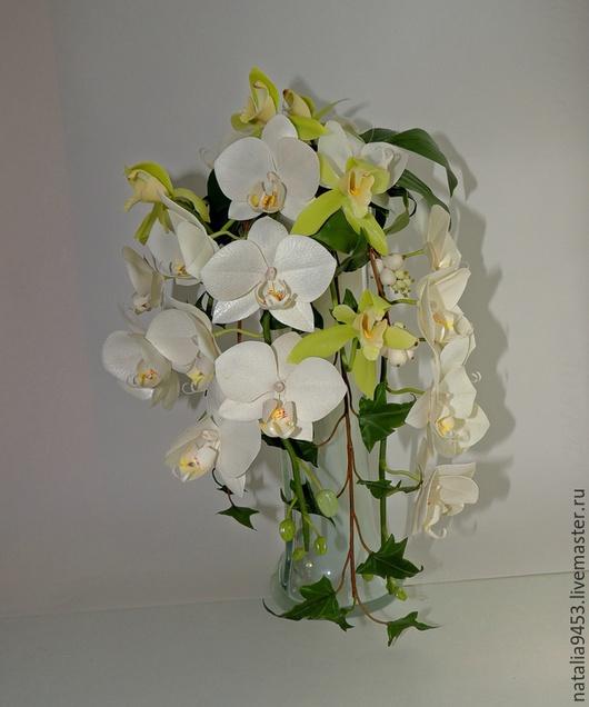 Интерьерные композиции ручной работы. Ярмарка Мастеров - ручная работа. Купить Каскаднная композиция с орхидеями. Handmade. Белый, каскадная, фаленопсис