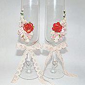 Свадебный салон ручной работы. Ярмарка Мастеров - ручная работа Свадебные бокалы с цветочным декором, красный, бледно-розовый. Handmade.