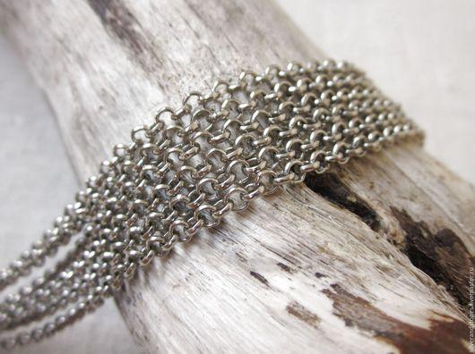 Для украшений ручной работы. Ярмарка Мастеров - ручная работа. Купить Цепь, серебряный цвет, звено 3х3 мм, цена за 1 м. Handmade.