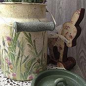 Для дома и интерьера ручной работы. Ярмарка Мастеров - ручная работа бидончик для хранения на кухню кантри винтаж Луг полевые цветы декупаж. Handmade.