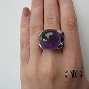 Украшения handmade. Livemaster - original item Ring with amethysts. Cabochons. 925 sterling silver PR.. Handmade.