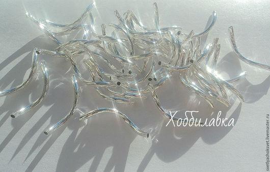 Посеребренные витые бусины-трубочки разделители для украшений длина  23 мм ширина 2 мм толщина металла 1 мм.