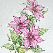 """Картины и панно ручной работы. Ярмарка Мастеров - ручная работа Рисунок """"Розовый клематис"""" акварель. Handmade."""