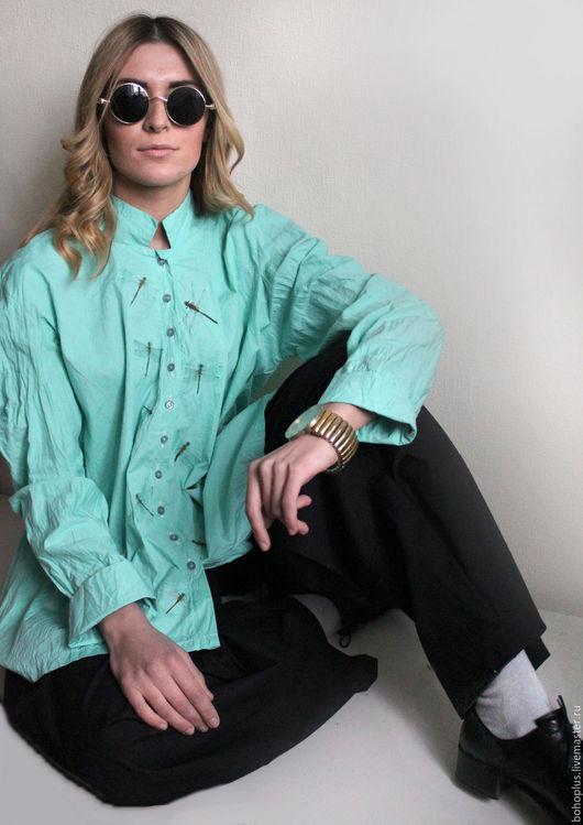 Блузки ручной работы. Ярмарка Мастеров - ручная работа. Купить Блузка из хлопка Стрекозы11. Handmade. Бирюзовый, блузка, бирюзовый цвет