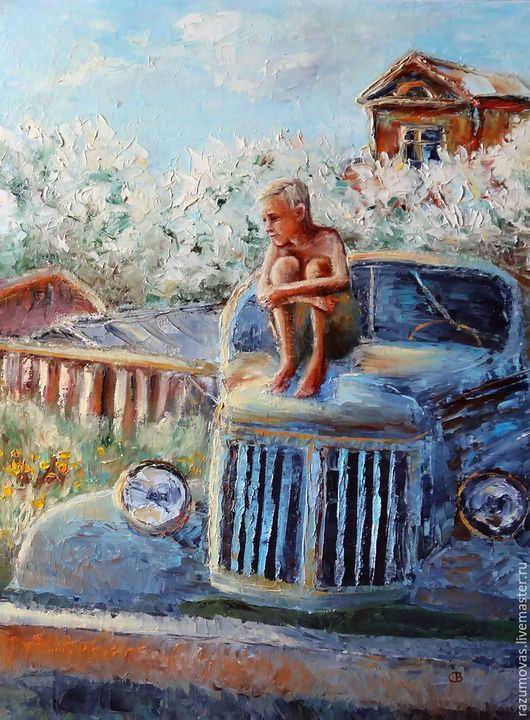 """Люди, ручной работы. Ярмарка Мастеров - ручная работа. Купить Картина маслом """"Босоногое детство"""" С. Разумова. Handmade. Голубой"""