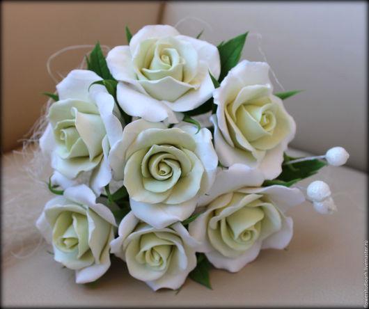 Букеты ручной работы. Ярмарка Мастеров - ручная работа. Купить Букет с розами из полимерной глины. Handmade. Салатовый