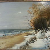 """Картины и панно ручной работы. Ярмарка Мастеров - ручная работа картина """"Зима.Море.Балтийские  дюны."""". Handmade."""