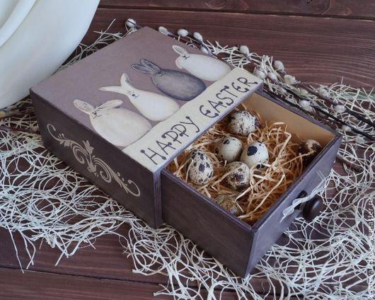 """Подарки на Пасху ручной работы. Ярмарка Мастеров - ручная работа. Купить Пасхальный короб """"Шоколадные зайцы"""". Handmade. Шоколадный"""