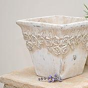 Для дома и интерьера handmade. Livemaster - original item Square garden pot with flowers, concrete. Handmade.