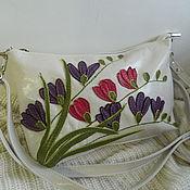 Сумки и аксессуары handmade. Livemaster - original item Leather bag. Crossbody bag. Clutch bag. Freesia white. Handmade.