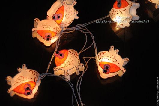 """Освещение ручной работы. Ярмарка Мастеров - ручная работа. Купить Светящаяся гирлянда """"Рыбки"""" из бумаги малбери. Handmade. Новогодний декор"""