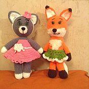 Мягкие игрушки ручной работы. Ярмарка Мастеров - ручная работа Кошка и лиса. Handmade.