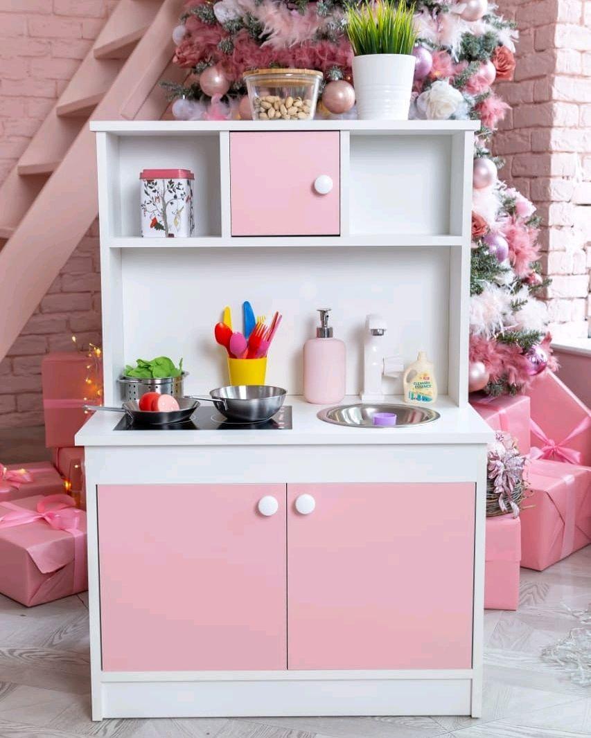 Детская игровая кухня 105 см деревянная с посудой с водой, Кукольные домики, Иваново,  Фото №1