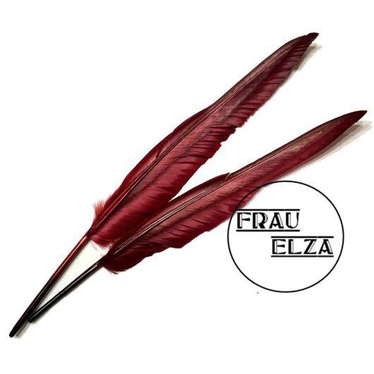 Другие виды рукоделия ручной работы. Ярмарка Мастеров - ручная работа. Купить Большие перья индейки Винные. Handmade.