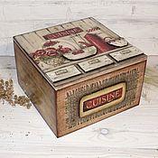 Для дома и интерьера ручной работы. Ярмарка Мастеров - ручная работа Коробка шкатулка для чайных пакетиков 2х видов Cusine. Handmade.