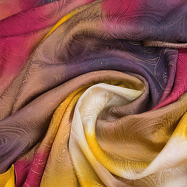 """Аксессуары ручной работы. Ярмарка Мастеров - ручная работа Палантин """"Осенний вальс"""" жаккард, окрашенный вручную. Handmade."""