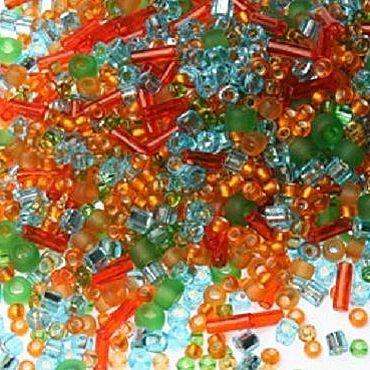 Materials for creativity handmade. Livemaster - original item 10g Toho MIX 3228 haiku orange Japanese seed beads TOHO. Handmade.