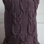 Для дома и интерьера ручной работы. Ярмарка Мастеров - ручная работа Подушка вязаная текстильна Совушки. Handmade.