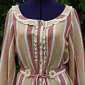 Одежда ручной работы. Ярмарка Мастеров - ручная работа БОХО, шебби платье-халат из льна «Augusta». Handmade.