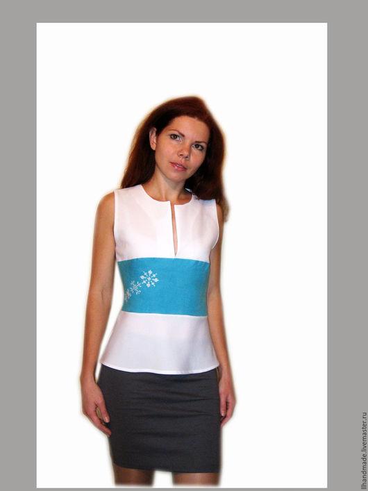 """Блузки ручной работы. Ярмарка Мастеров - ручная работа. Купить Блузка с баской """"Снежинки"""". Handmade. Белый, блузка белая, лён"""