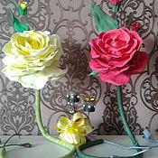 Ночники ручной работы. Ярмарка Мастеров - ручная работа Ночники: розы из фоамирана. Handmade.